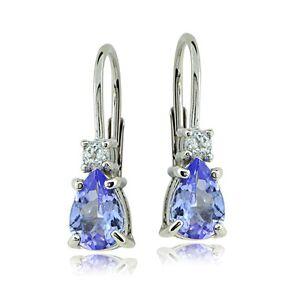 Sterling-Silver-1ct-Tanzanite-amp-White-Topaz-Teardrop-Leverback-Earrings