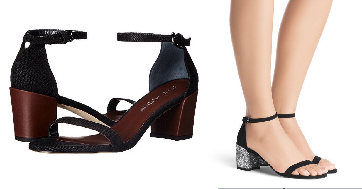 NIB Stuart Weitzman simple black linen sandal 8.5 block heel