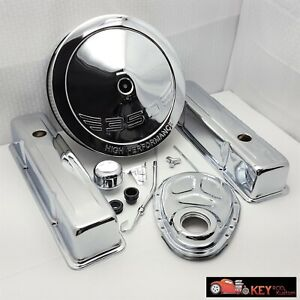 SB Chevy Chrome engine dress up kit TALL Valve covers Air cleaner Timing 383