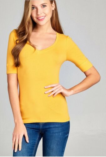Plus Size Women/'s Basic V-Neck Elbow Sleeve T-Shirt Short Sleeve Stretchy Top 71