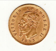 ITALIE VICTORIO EMMAN RARE 5 LIRES OR /GOLD  1863