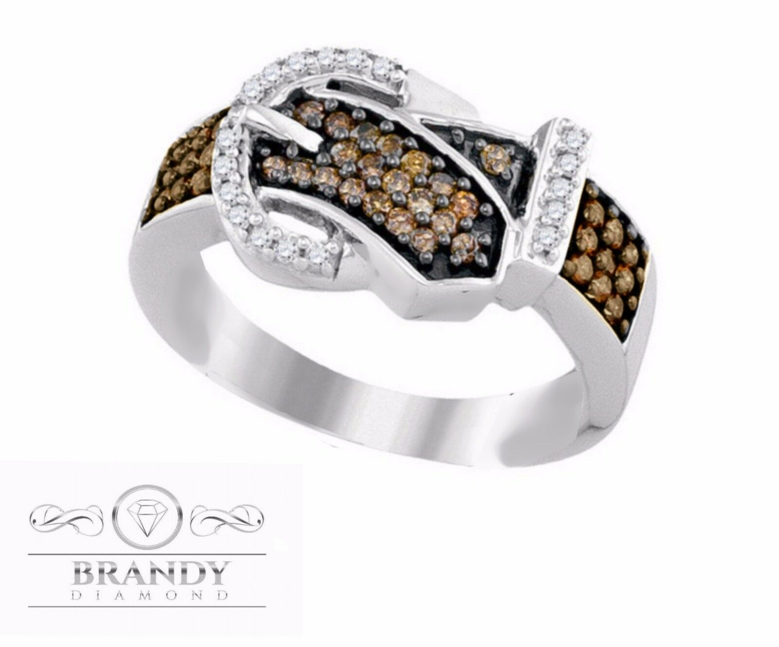 Brandy Diamond® Chocolate Brown 10K White gold Beautiful Belt Ring .50 Ct