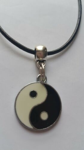YING YANG PENDANT ON  2MM BLACK REAL LEATHER   NECKLACE CORD THONG CHAIN 13-32/""