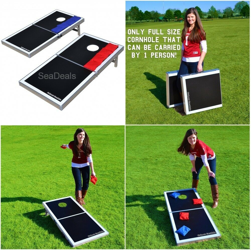 Gosports Cornhole Set Boards Bags Lawn Outdoor Toss Game Portable Carrying Case