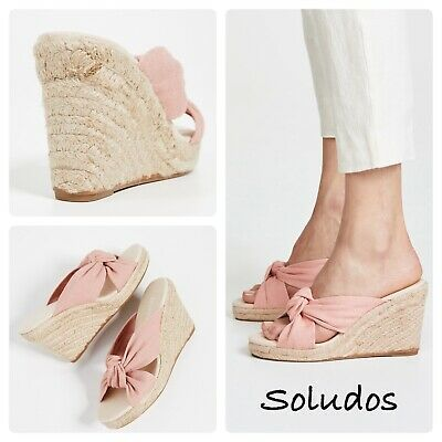 Soludos Womens Knotted Wedge Espadrilles Size 6.5 Dusty Rose Pink Sandals | eBay