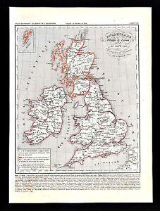 1849 Houze Map Great Britain 1281 1400 England Ireland Scotland