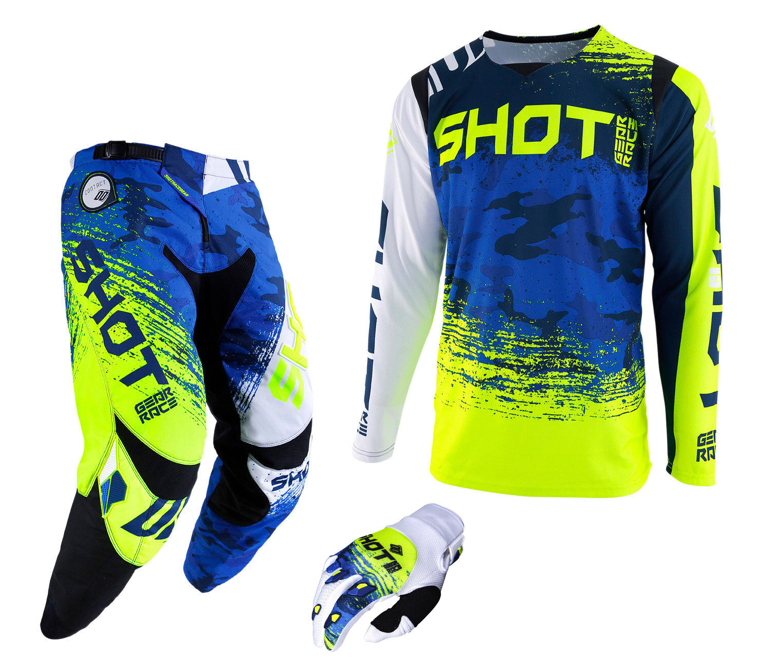 2019 SHOT COUNTER PANT & JERSEY MTB BMX  DOWNHILL DH COMBO KIT CAMO blueE YELLOW  convenient