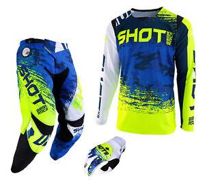 2019-Shot-Contador-Pantalon-amp-Jersey-Motocross-Enduro-MX-Combo-Kit-Camo-Azul-Amarillo