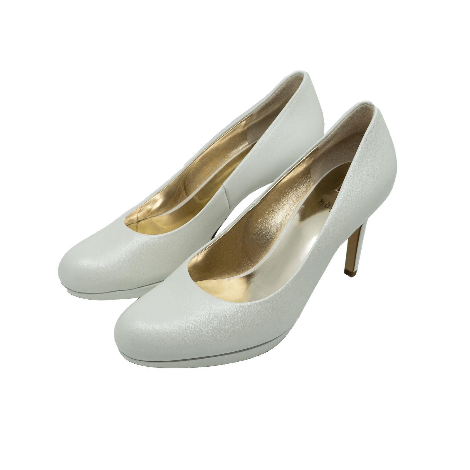 Högl 5-108003 Damen Runde Pumps High Heels Weiß Leder Absatz-Schuhe NEU OVP