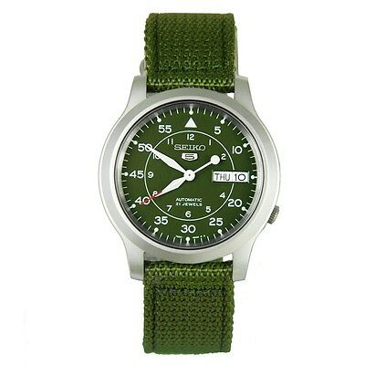 Seiko Men's Automatic Watch with Green Canves Strap SNK805K2