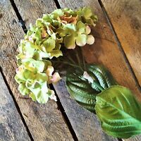 Bunch Of 5 Green Faux Silk Hydrangeas, Realistic Artificial Flowers