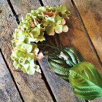 Bunch Of 5 Green Faux Silk Hydrangeas, Realistic Artificial Flowers
