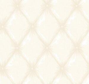 Wallpaper-Designer-White-on-Cream-Faux-Tufted-Fabric-Look
