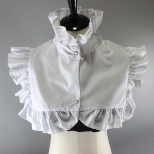Women Vintage Ruffled High Neck Fake Collar Dickey Buttons Detachable Half Shirt