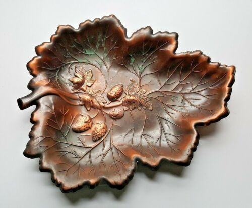 COPPERCRAFT GUILD SOLID COPPER LEAF STRAWBERRIES ORNAMENTAL DISH PLATE