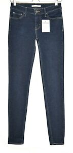 Damen-Levis-SUPER-SKINNY-710-dunkelblau-Mid-Rise-stretch-Jeans-Gr-10-w28-l32