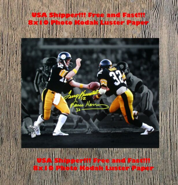 58470ef46aa Franco Harris Terry Bradshaw Autographed Pittsburgh Steelers 8X10 Man Cave  RP