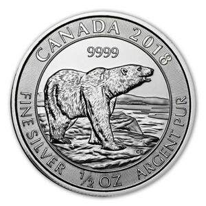 Ravissement Canada 2 Dollars Argent 1/2 Once Ours Polaire 2018