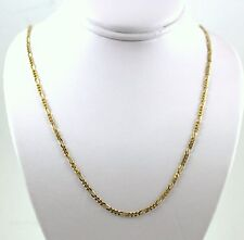 """14KT ITALY SOLID Yellow GOLD  WOMEN'S 1.3mm  FIGARO LINK CHAIN NECKLACE  20"""""""