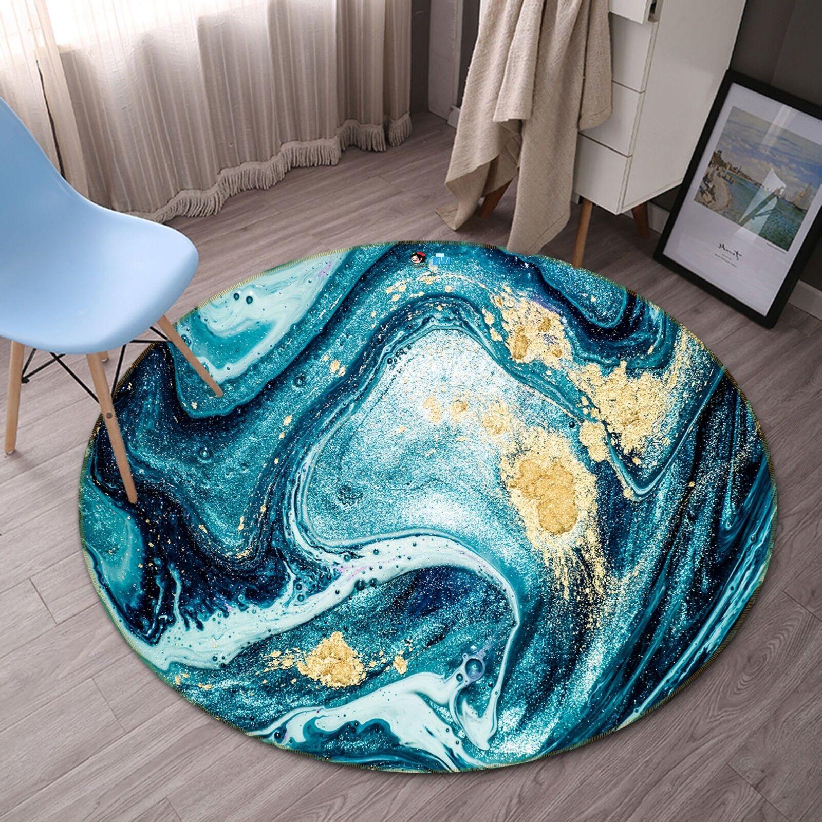 3D Sea Waves Anime 5 Non Slip Rug Room Mat Round Quality Elegant Photo Carpet AU