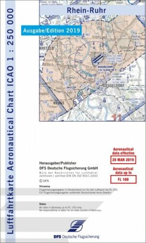 1352.2 ICAO-Karte Motorflug Rhein-Ruhr 2019 mit Folie Für Übungszwecke verwenden