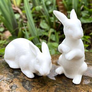 2 x Ceramic Whiteware Rabbits Figurines Miniature Easter Bunnies Home Decoration