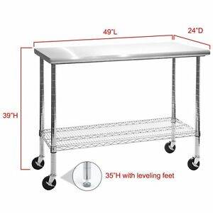 Details About Rolling Stainless Steel Top Kitchen Work Table Cart Casters Shelving 24 X 49