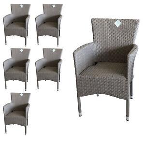 6tlg rattansessel set gartensessel gartenstuhl stapelbar polyrattan grau ebay. Black Bedroom Furniture Sets. Home Design Ideas