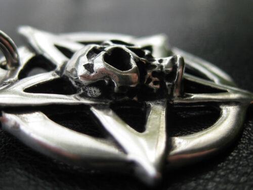 KA 066 Pentagramm Totenkopf 925/'er Silber Ketten Anhänger Gothic Dead Head