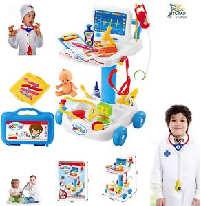 Enfants Docteur Infirmière Médical Chariot semblant Role Play Set Kit Jouet Cadeau