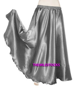 30Color Instock Orchid TMS Satin Half Circle Skirt Belly Dance Maxi 4-5 Yard