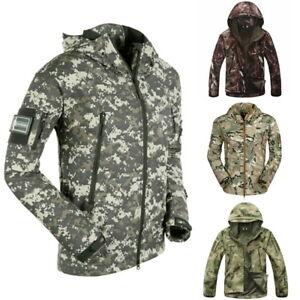 Mens-039-Softshell-Tactical-Jacket-Waterproof-Shark-Camouflage-Hooded-Coat