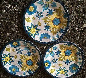 Image is loading 7-Nicole-Miller-Melamine-Plates-yellow-blue-Spanish- & 7 Nicole Miller Melamine Plates yellow blue Spanish (3) 10 1/2