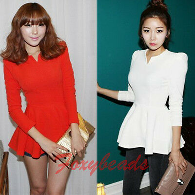 Women Puff Long Sleeves Fitted Peplum Tunic Top Blouse Bodycon Shirt/mini Dress