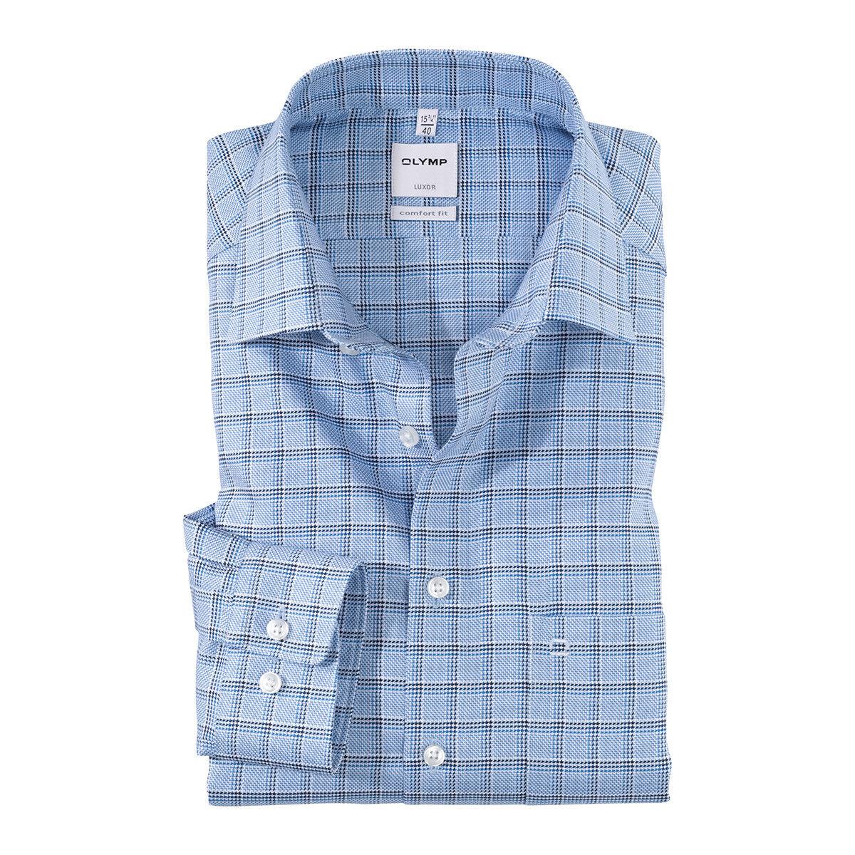 XXL Olymp Langarmhemd Muster hellblau-violett kariert 44 46 48 50 NEU Übergröße