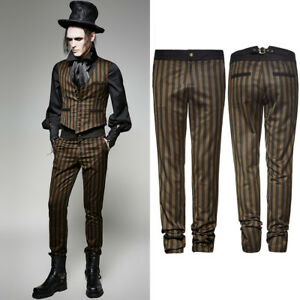 Punk Rave K-271 Steampunk Brown Coffee Striped Trousers Vintage Style Pants