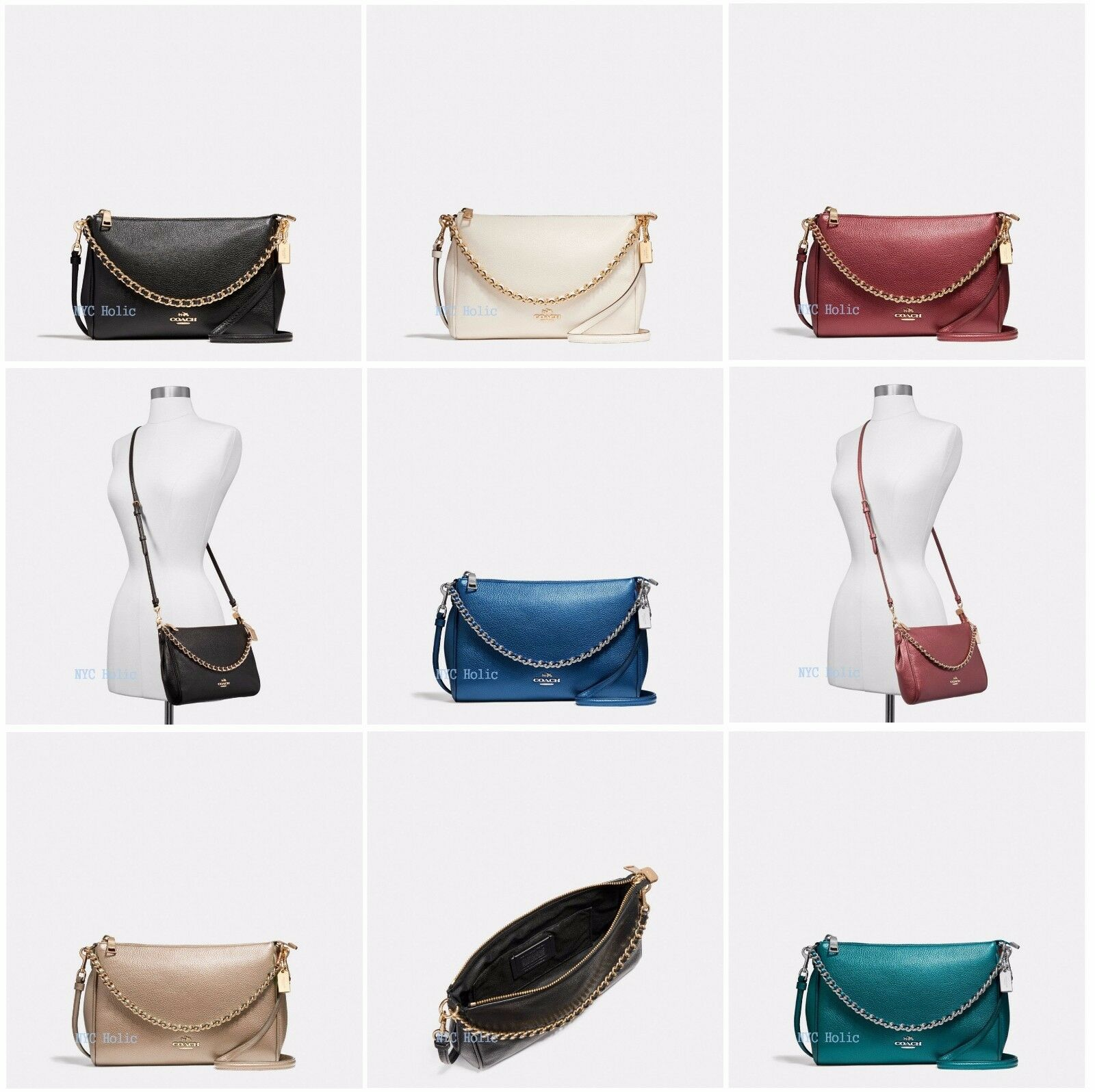 8a46a947a0855 New Coach Carrie Crossbody Bag In Pebble Leather F22207 F22212