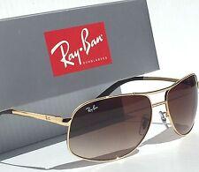 NEW* Ray Ban AVIATOR GOLD 64mm w Brown Bronze Gradient Sunglass RB 3387 001/13