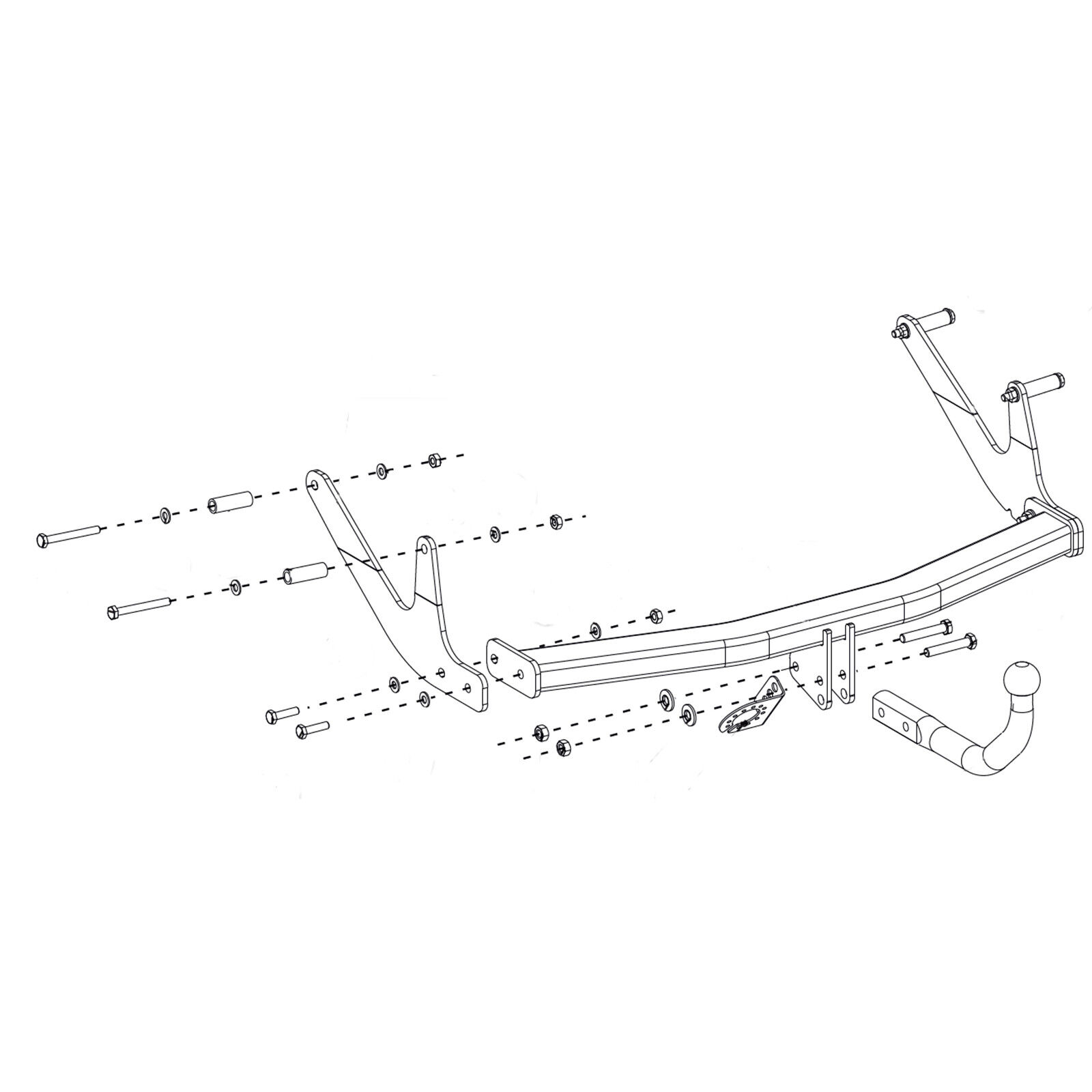 Fixed towbar swan neck Dacia Logan MCV estate 2017 onwards 13-pin electric kit