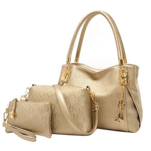 3Pcs Women Handbag Shoulder Bag Tote Purse Leather Butterfly Messenger Bling Bag