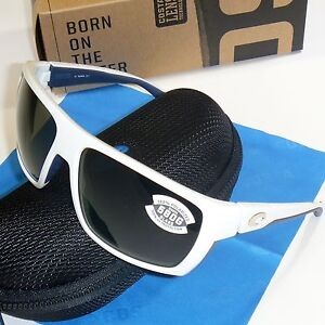 493b9b6fcc Costa Del Mar Hamlin Polarized Sunglasses-White w. Blue Trim Gray ...