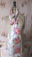 Hermosa Antigua Francesa 19thC ancho de seda tafetán fajín Ikat/Sombrero Cinta Rosa Bunch