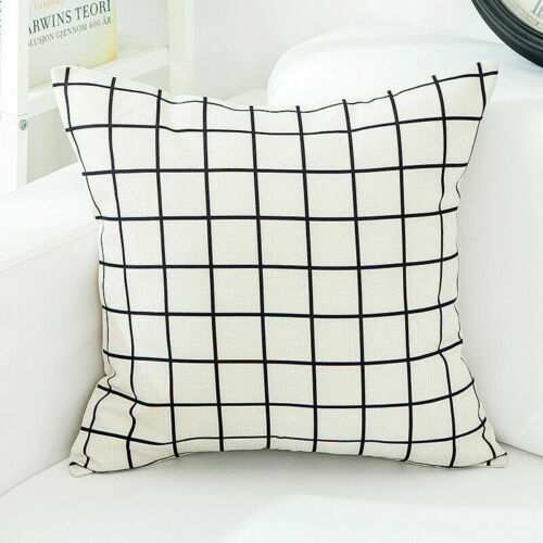 Géométrie Noir Blanc Treillis Coton Lin Taie d/'oreiller taille coussin Home Decor