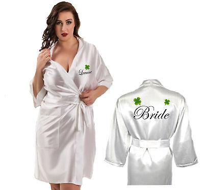 Ben Informato Personalizzata Irlandese Shamrock Robe / Vestaglia Sposa Brideach Celtico Matrimonio-mostra Il Titolo Originale