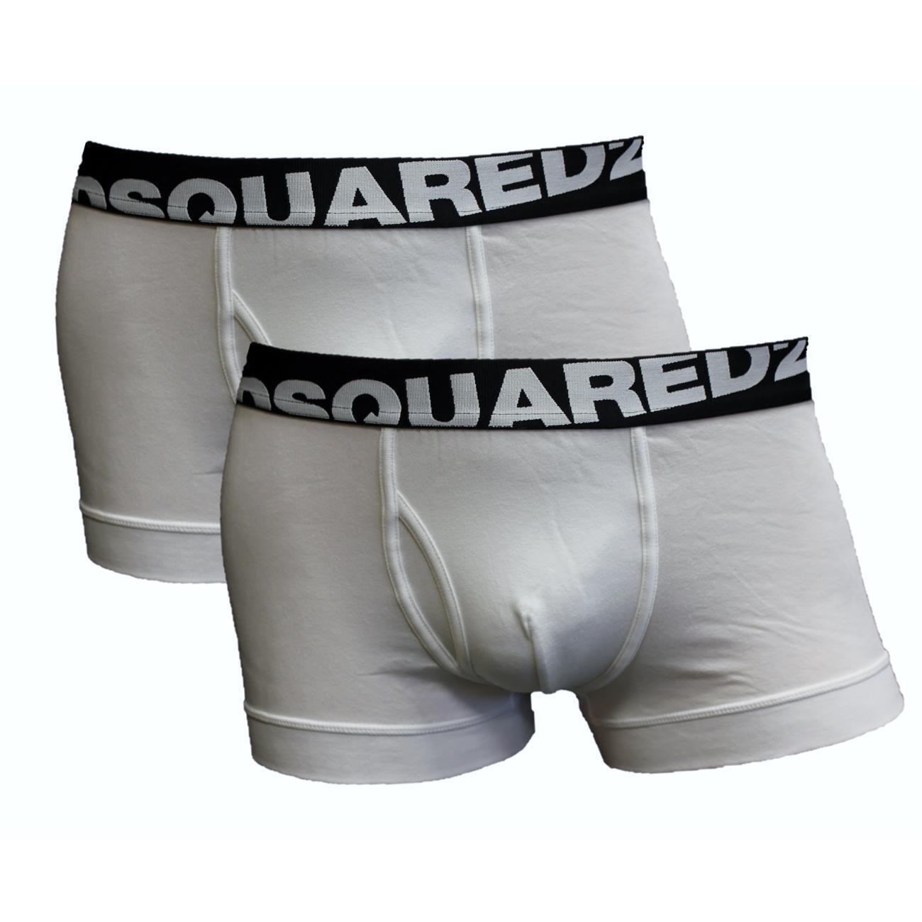 DSQUARED2 Lot Boxer de 2 Set Hommes Caleçons Pantalon Boxer Lot Coton Stretch Blanc Neuf 394525