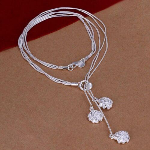 New Argent Fashion Mignon Charms Rose Collier Pendentif Bijoux Femmes Lady N49