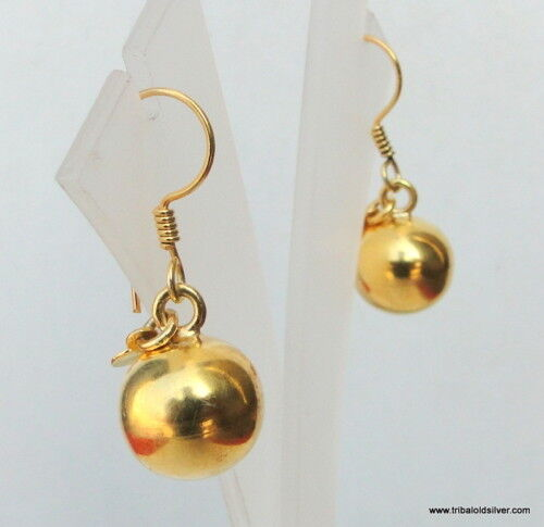 925 sterling silver gold gilded earring pair ball plane