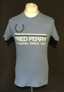 Fred-Perry-Men-039-s-Blue-Vintage-T-Shirt-Small-Short-Sleeve