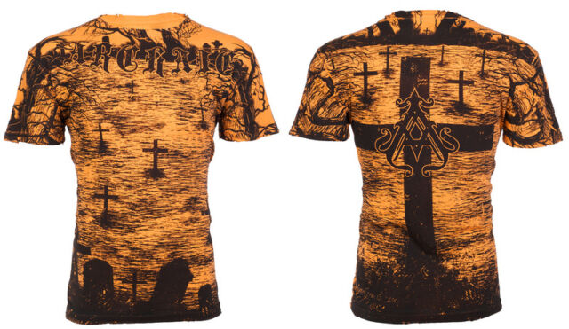 Archaic AFFLICTION Mens T-Shirt CRYPT KEEPER Cross Tattoo Biker UFC M-3XL $40 b