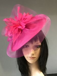 6bc01c96e4a SUZANNE BETTLEY CERISE HOT PINK WEDDING HAT DISC FASCINATOR MOTHER ...